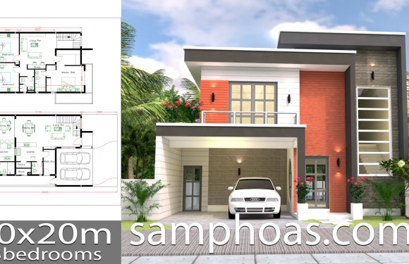 3D House Design Plans With 3 Bedrooms Plot 10x20m