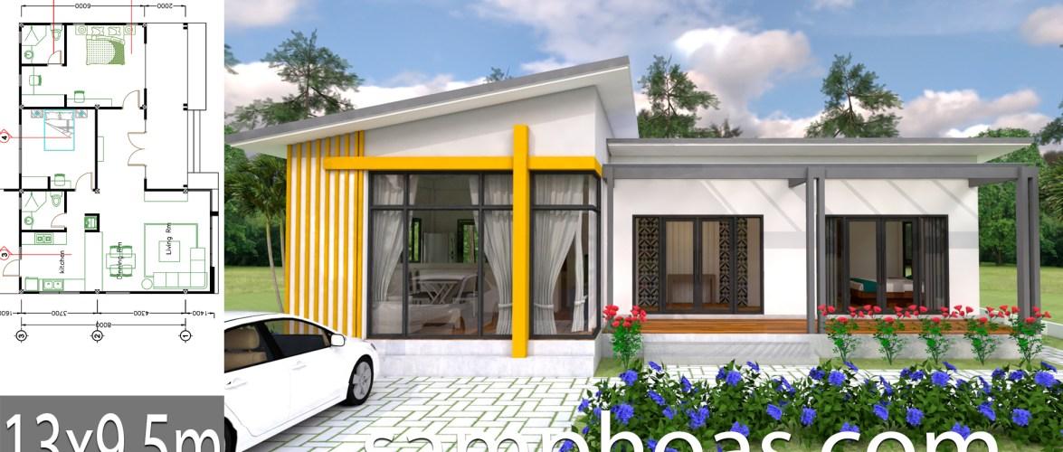 Plan 3D Interior Design House Plans 13×9.5m Full Plan 3Beds