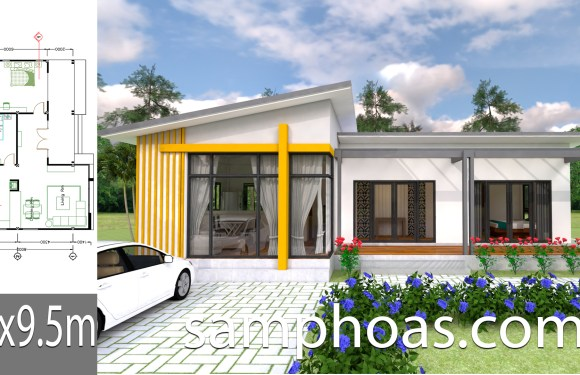 Plan 3D Interior Design House Plans 13×9.5m Full Plan 3Beds