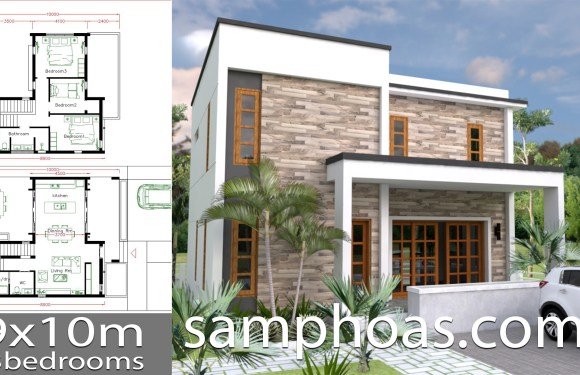 House Plans 9x10m with 3 Bedrooms