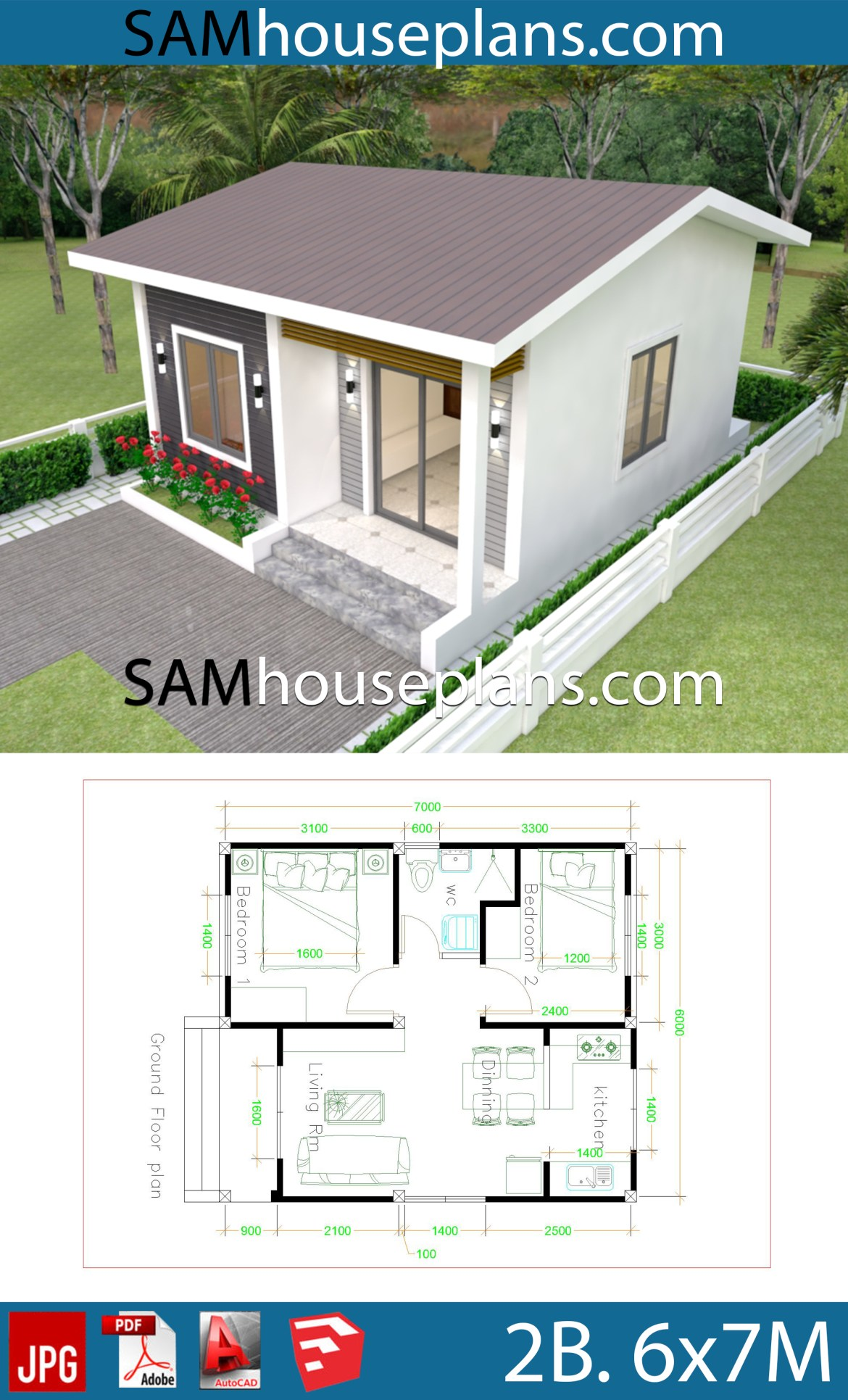House Plans 6x7m with 2 bedrooms Full Plans - SamPhoas Plan