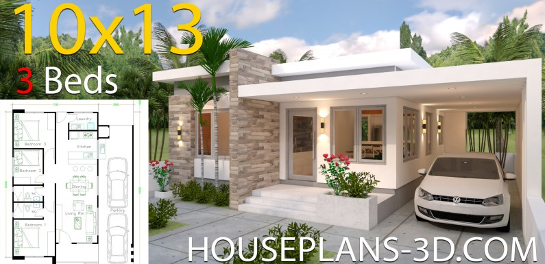 House Design plans 10×13 with 3 Bedrooms Full Plans