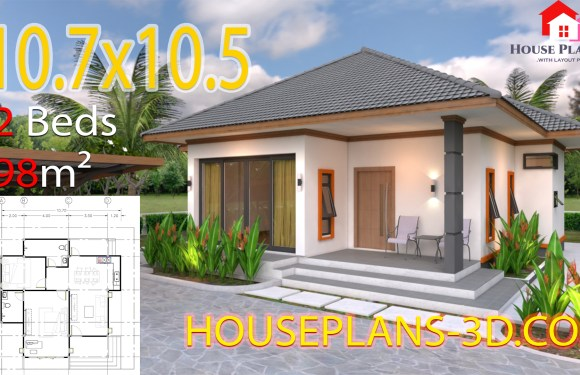 House Design Plans 10.7×10.5 with 2 Bedrooms