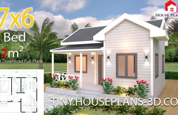 House Plans 7×6 with One Bedroom Cross Gable Roof