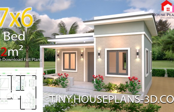 House Plans 7×6 with One Bedroom Flat Roof