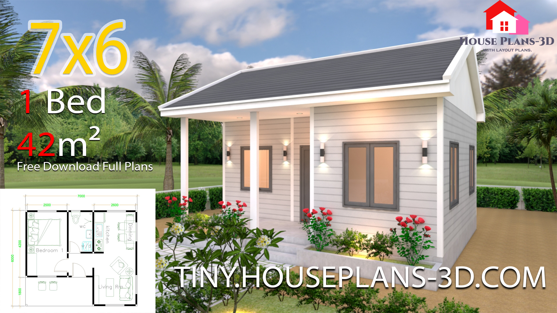 House Plans 7x6 With One Bedroom Gable Roof Samphoas Plan