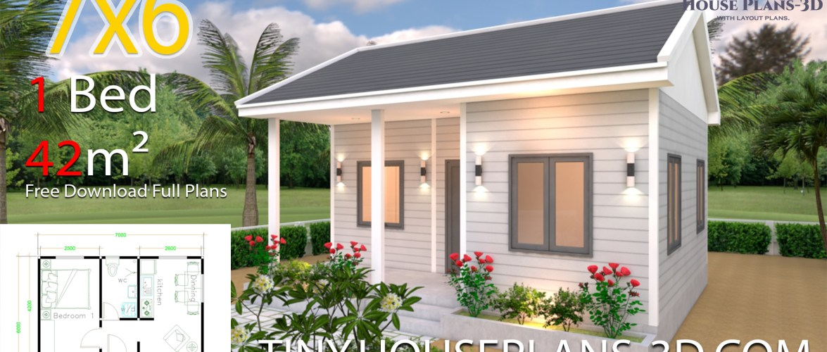 House Plans 7×6 with One Bedroom Gable Roof