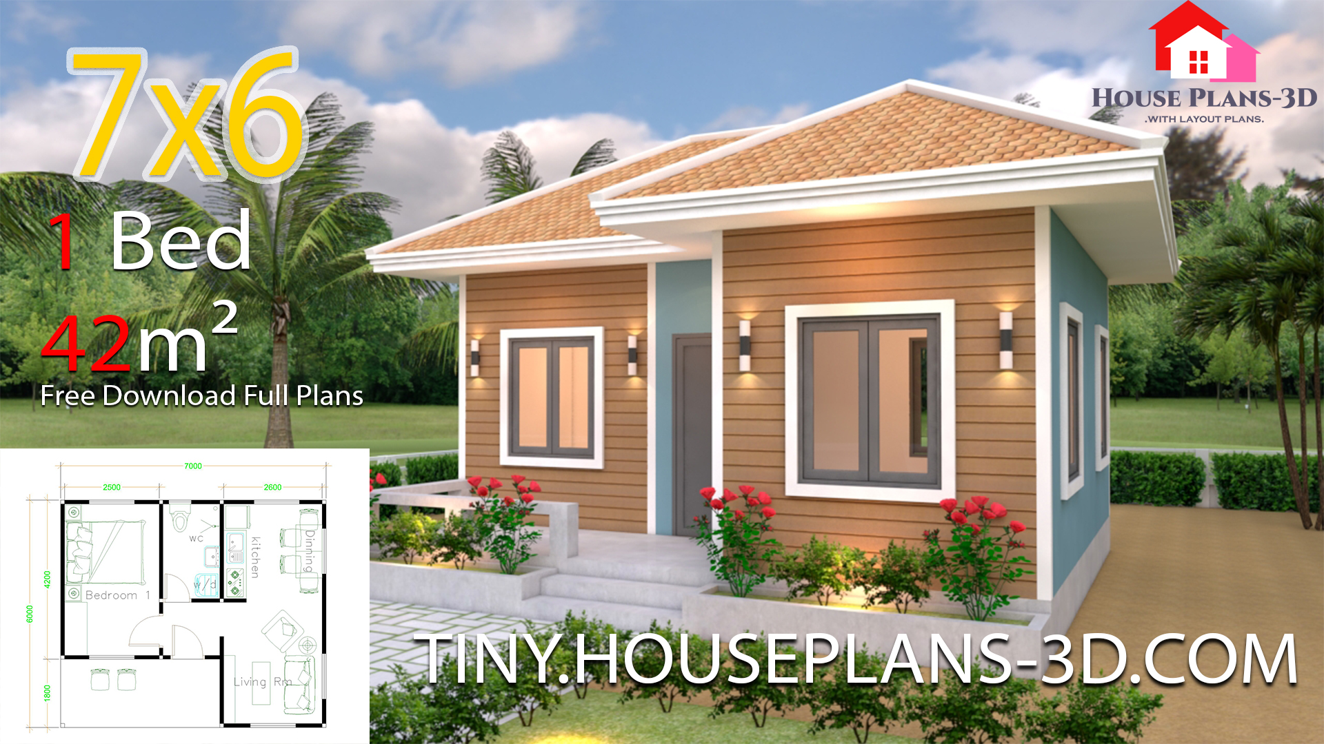House Plans 7x6 With One Bedroom Hip Roof Samphoas Plan