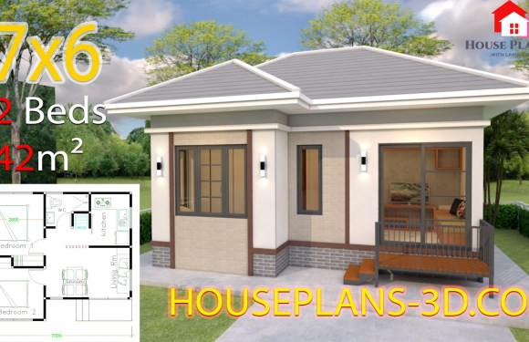 House Plans 7×6 with 2 Bedrooms Hip Roof