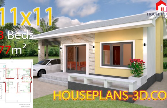 House Design Plans 11×11 with 3 Bedrooms