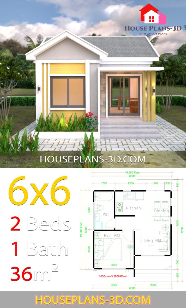House Design Plans 6x6 with One Bedrooms Gable Roof ...