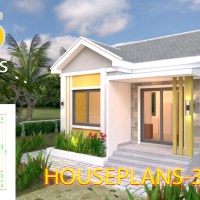 House Design Plans 6x6 with One Bedrooms Gable Roof