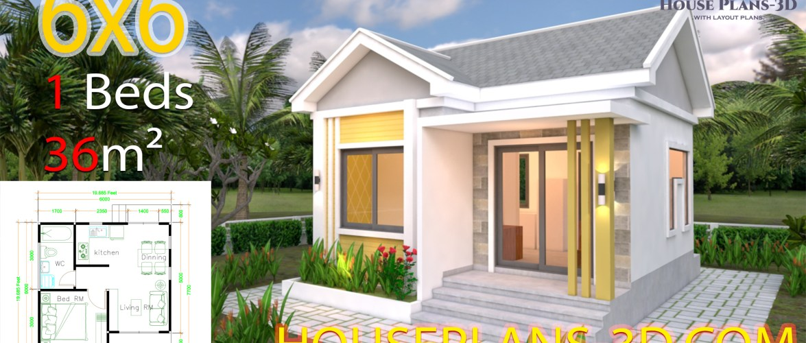 House Design Plans 6×6 with One Bedrooms Gable Roof