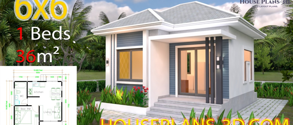 House Design Plans 6×6 with One Bedrooms Hip Roof
