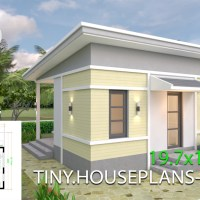 One Bedroom House Design Plans 6x6 with Shed Roof