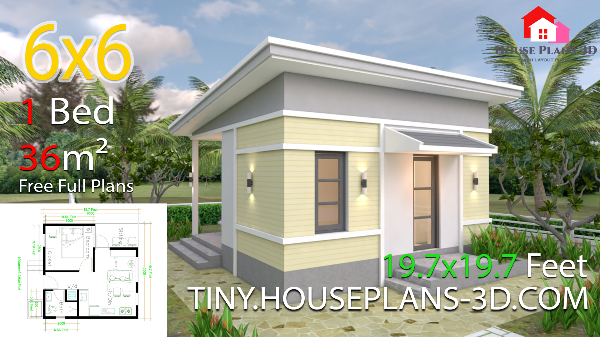 One Bedroom House Design Plans 6x6 With Shed Roof Samphoas Plan