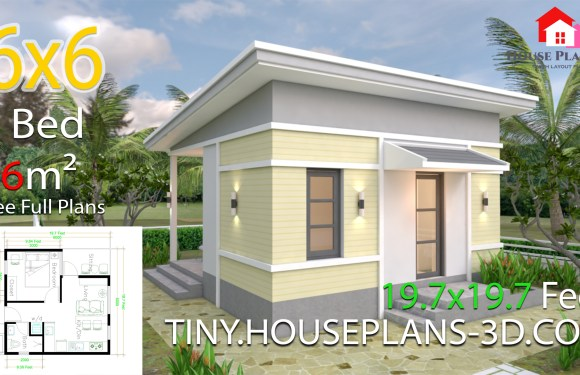 One Bedroom House Design Plans 6×6 with Shed Roof