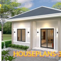 House Plans 6x7 with 2 bedrooms Hip Roof