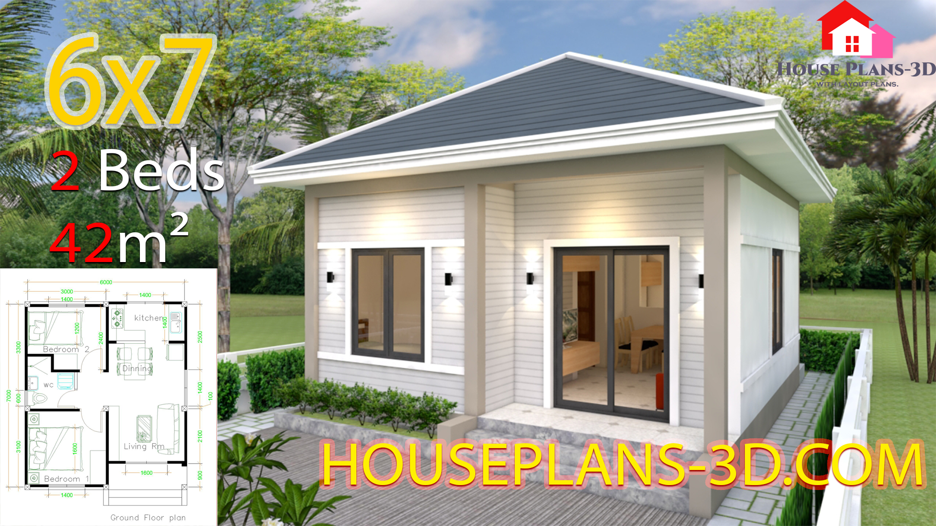 House Plans 6x7 With 2 Bedrooms Hip Roof Samphoas Plan