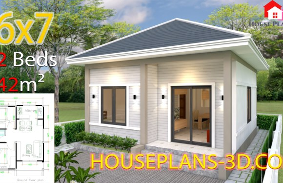 House Plans 6×7 with 2 bedrooms Hip Roof