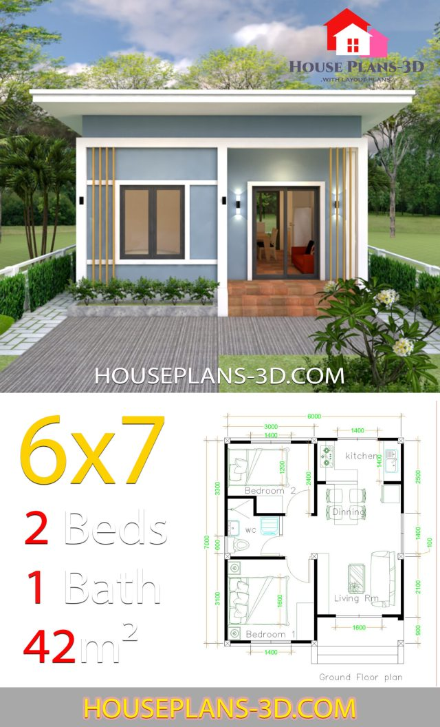 House Plans 6x7 With 2 Bedrooms Shed Roof - SamPhoas Plan