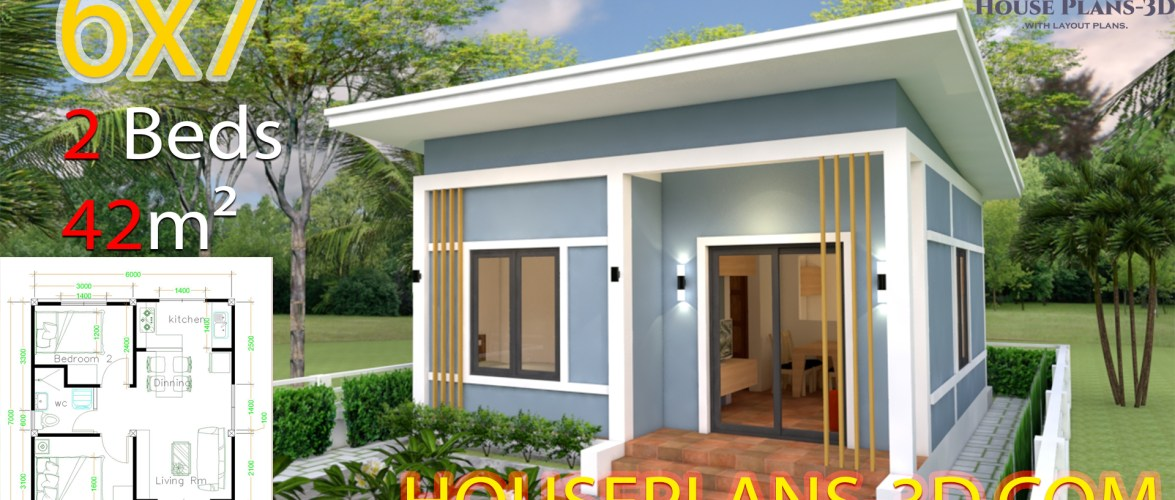 House Plans 6×7 with 2 bedrooms Shed Roof