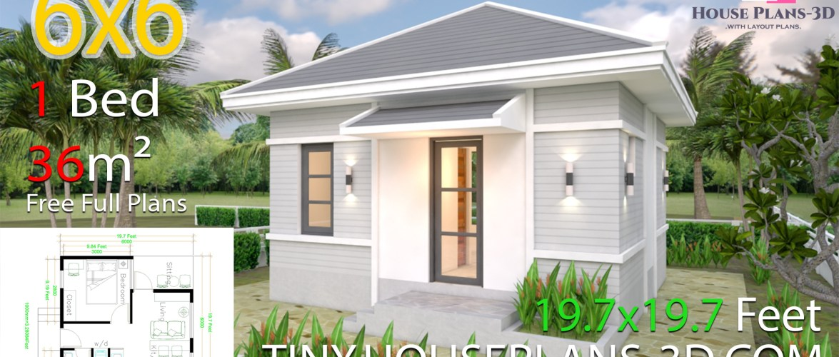 House Plans 6x6 With One Bedroom Hip Roof Samphoas Plan