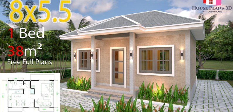 House Plans 8×5.5 with One Bedrooms Gross Hipped roof