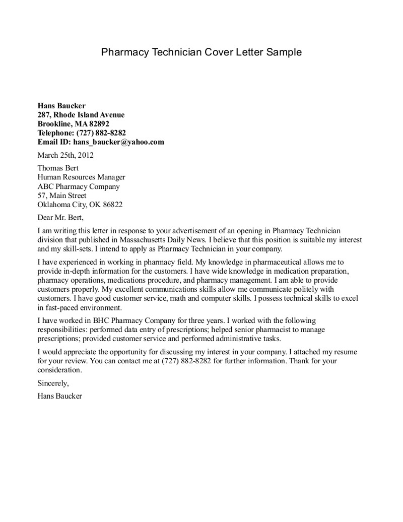 Accounting Technician Cover Letter Sample Cover Letter For Pharmacist Koran Sticken Co