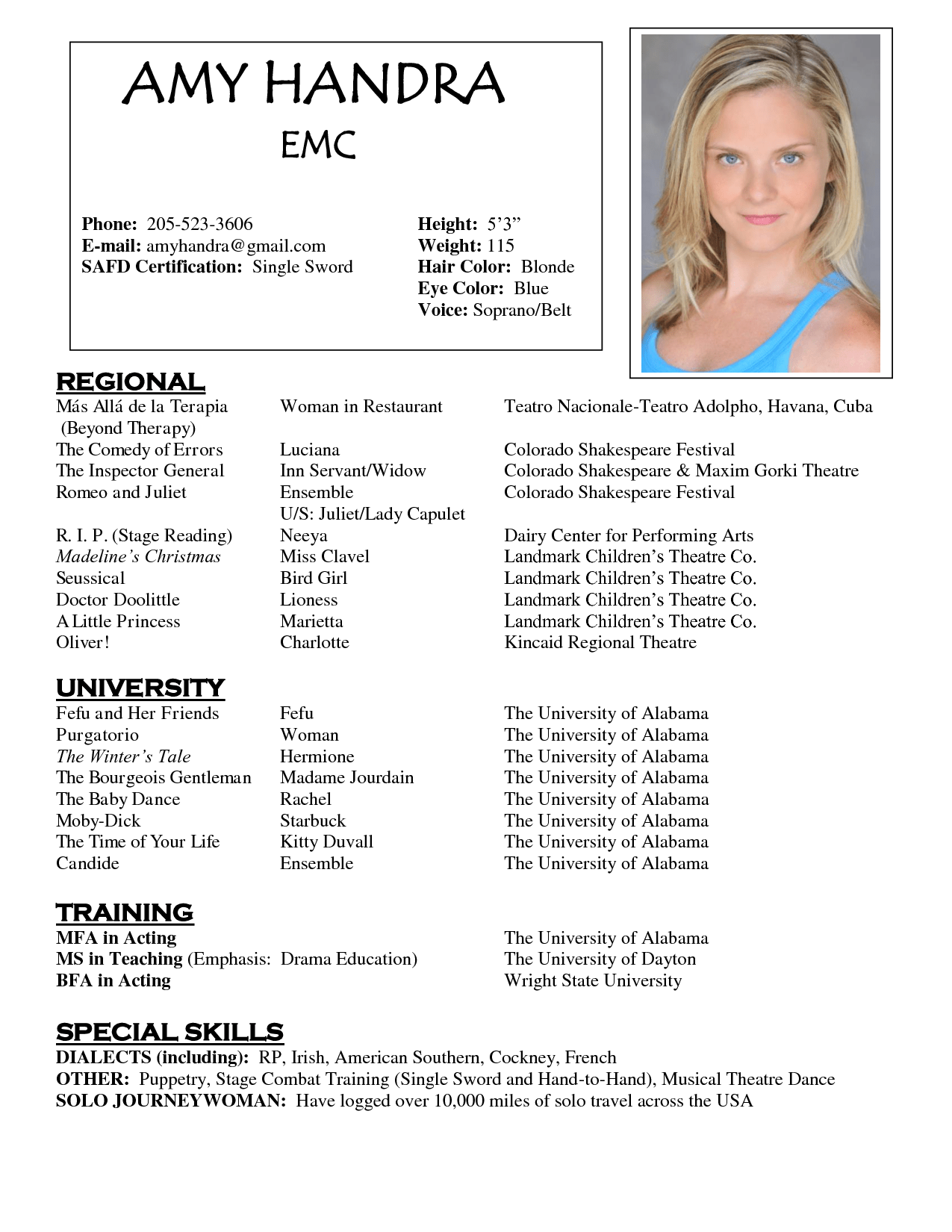 Free Acting Resume Templates Samplebusinessresume Com