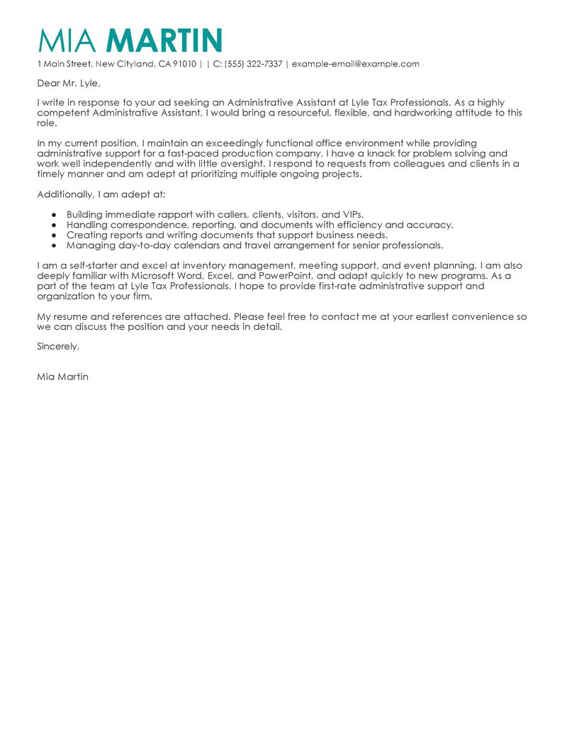 Administrative Assistant Cover Letter Samples 2017