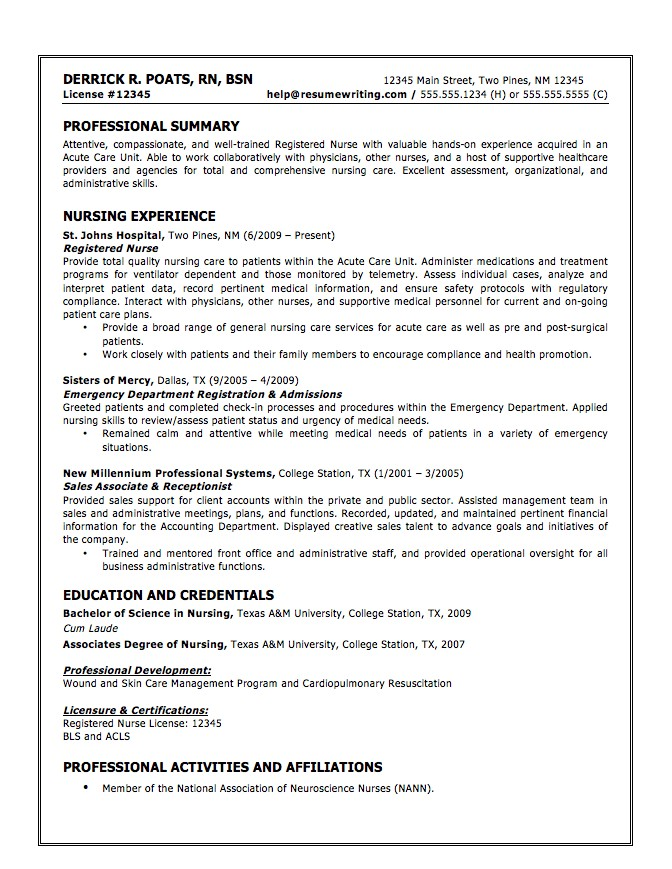examples for resume for cna