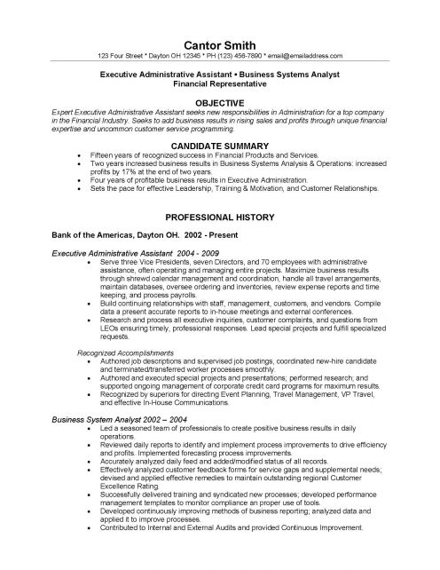 Resume Objective For Bank Job