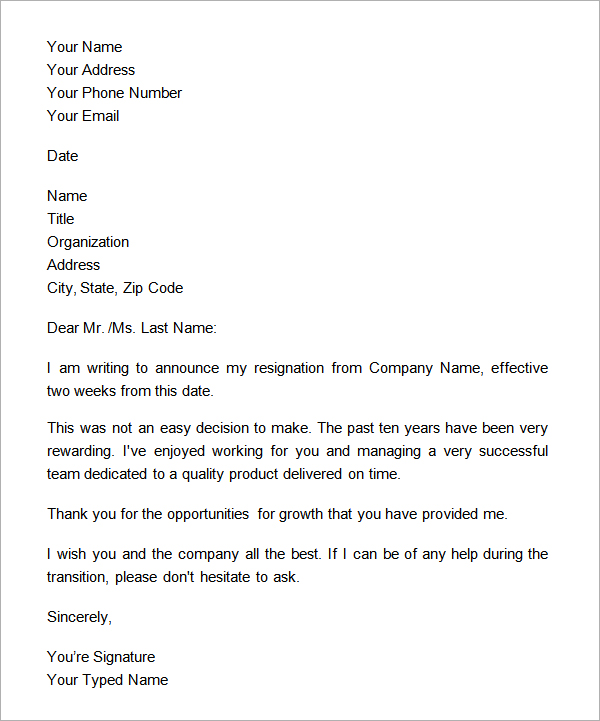 Basic Two Weeks Notice Formal Letter example  SampleBusinessResumecom  SampleBusinessResumecom