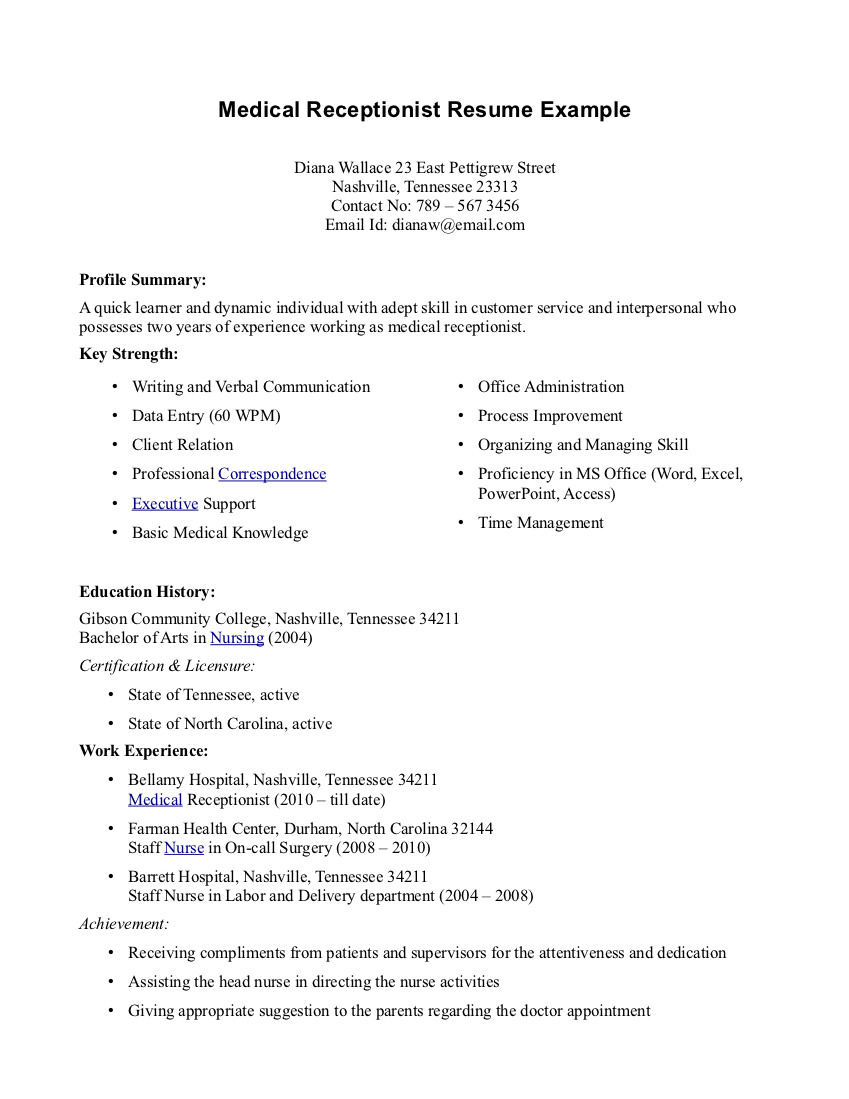 Medical Office Assistant Resume Examples Examples Of Resumes
