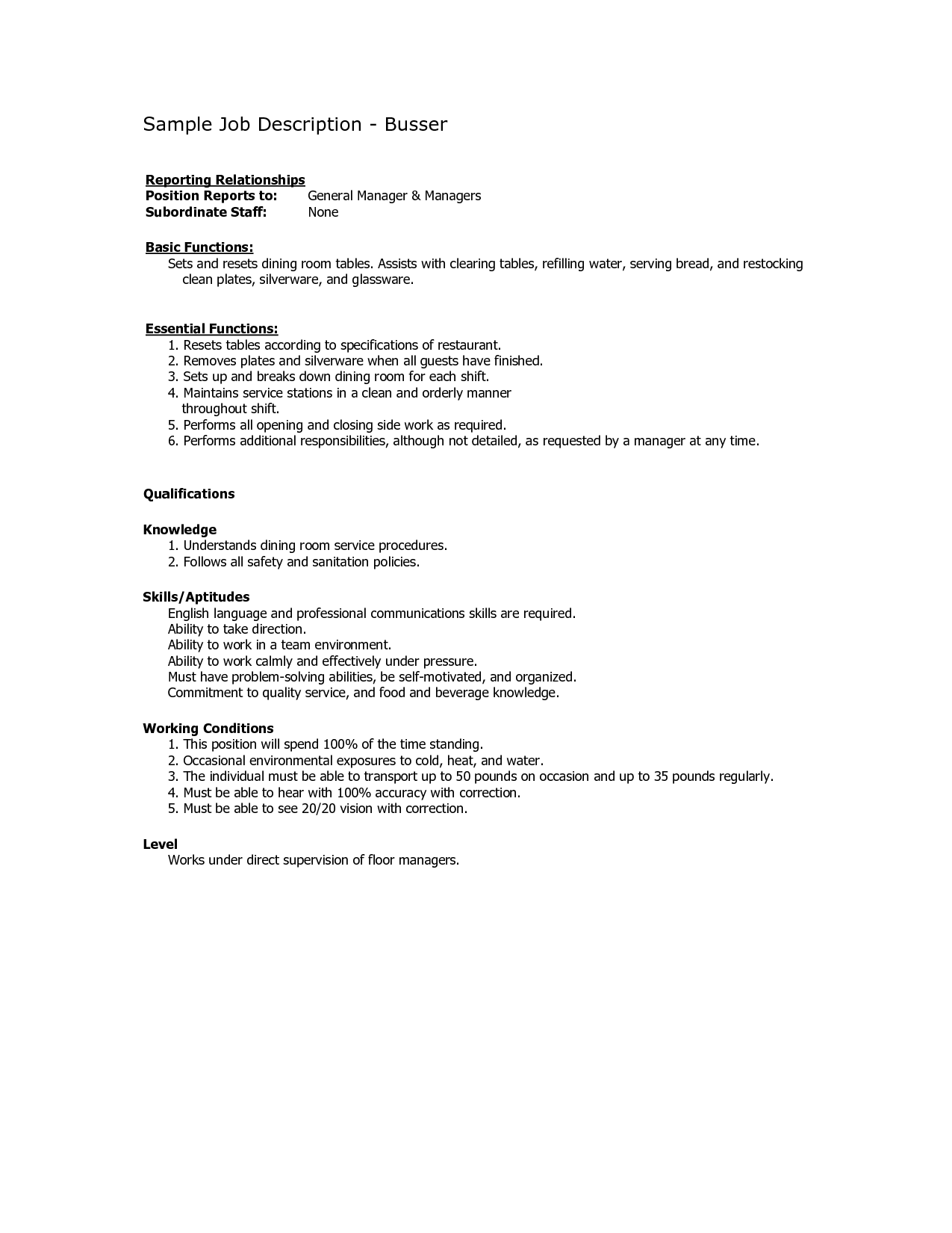 Busser Job Description for Resume  SampleBusinessResume