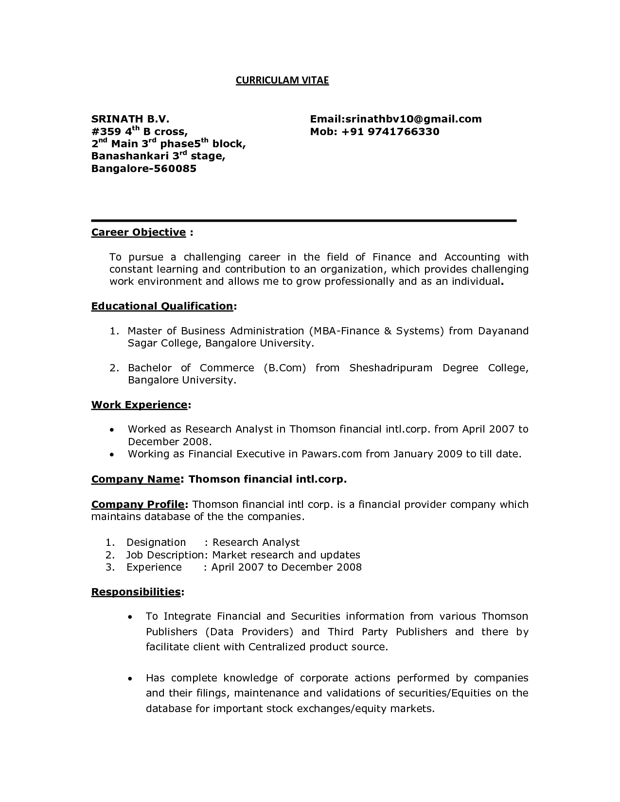 Mba Finance Resume Free Download How To Write Career Objective With Sample