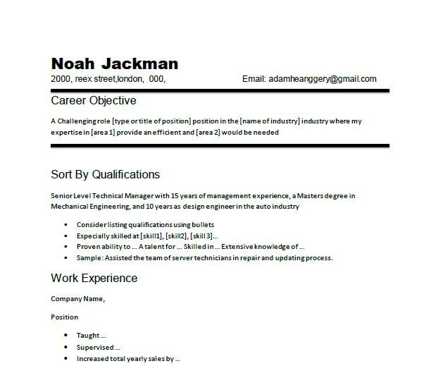 sample of objectives for resumes