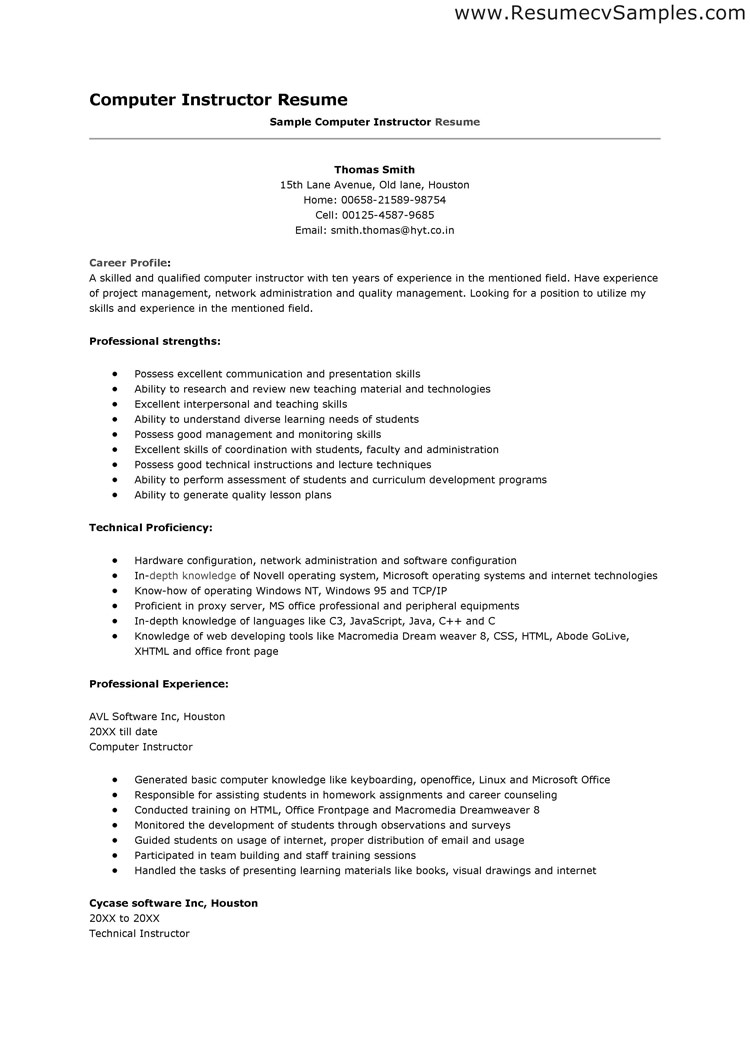 Examples Of Computer Skills On Resume - Examples of Resumes