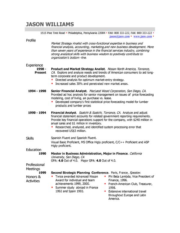 Resume Resume Example Profile profile for resume examples example of on sample template profile