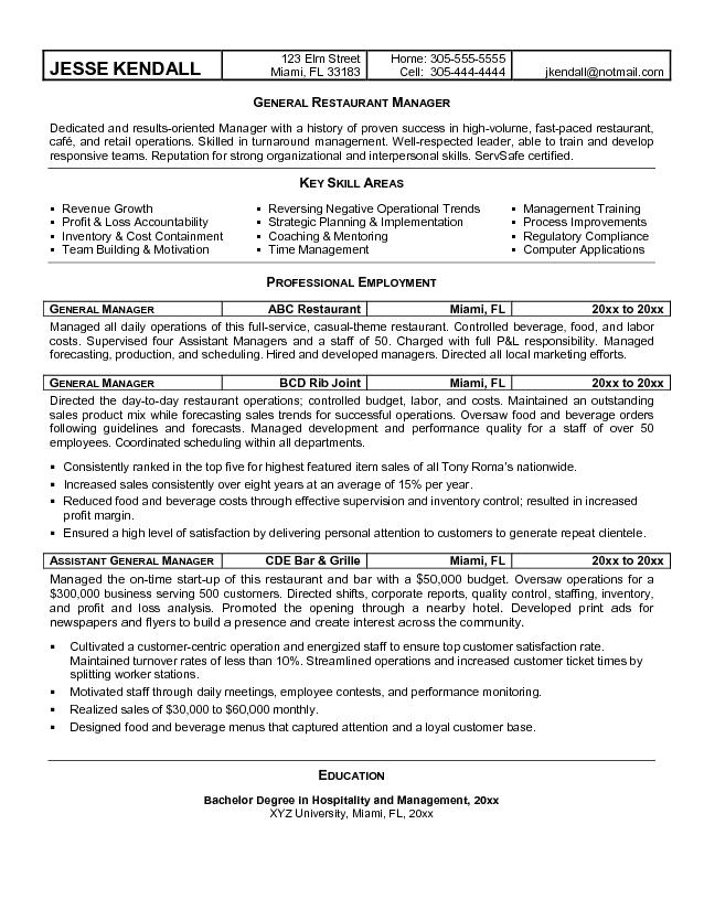 restaurant owner resume example