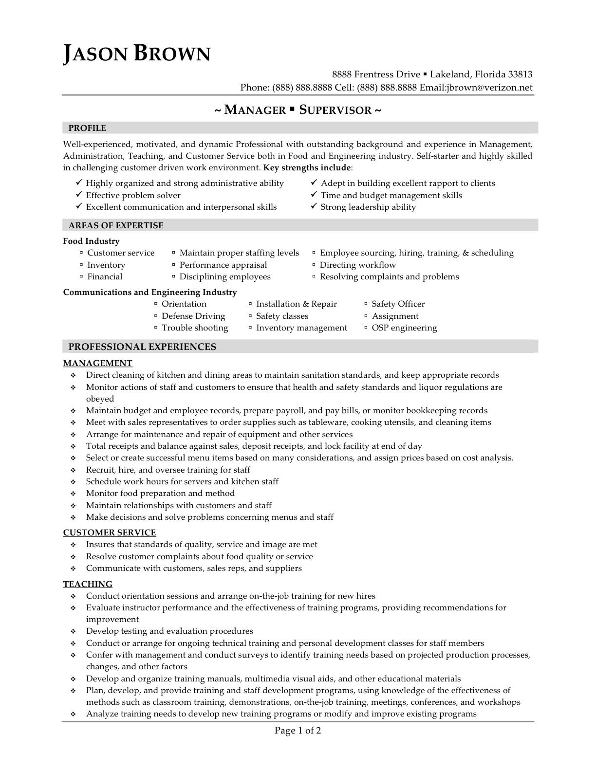 Lunch Supervisor Resume Sample 14 Sample Restaurant Manager Resume Samplebusinessresume