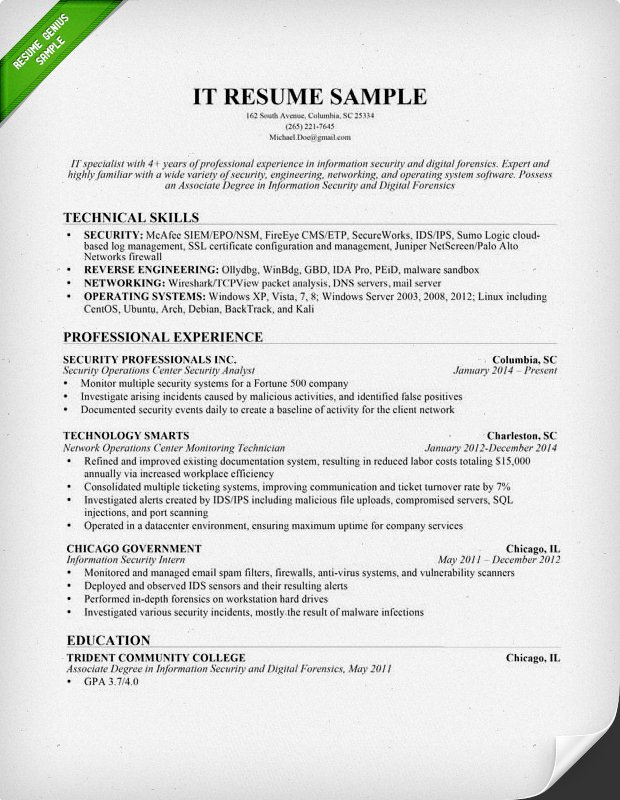 Information Technology IT Resume Sample Computer Skills On Sample
