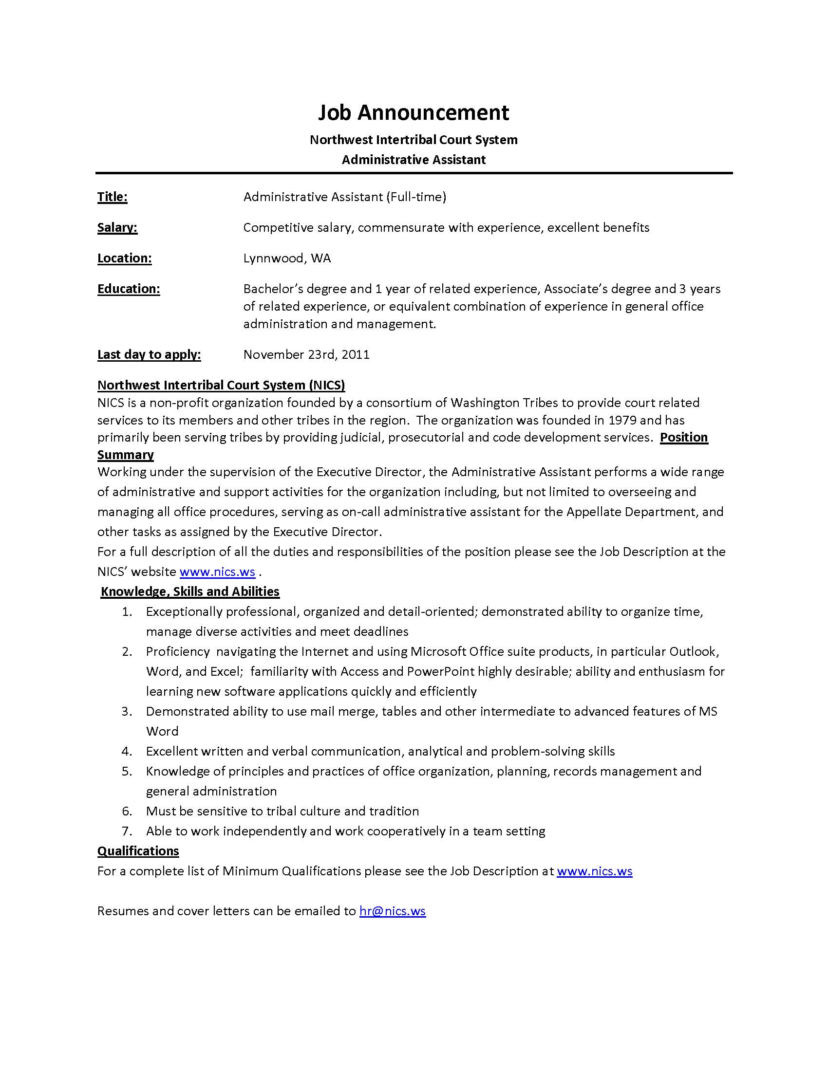 Sample Resumes For Administrative Assistant Positions Administrative Assistant Job Description Office Sample
