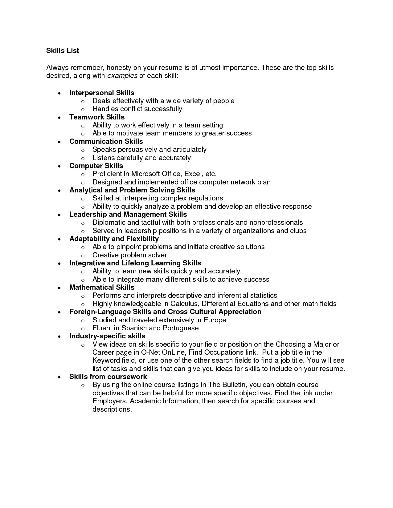 Resume Examples Of Skills List Of Skill For Resume List Of Skills For Resume