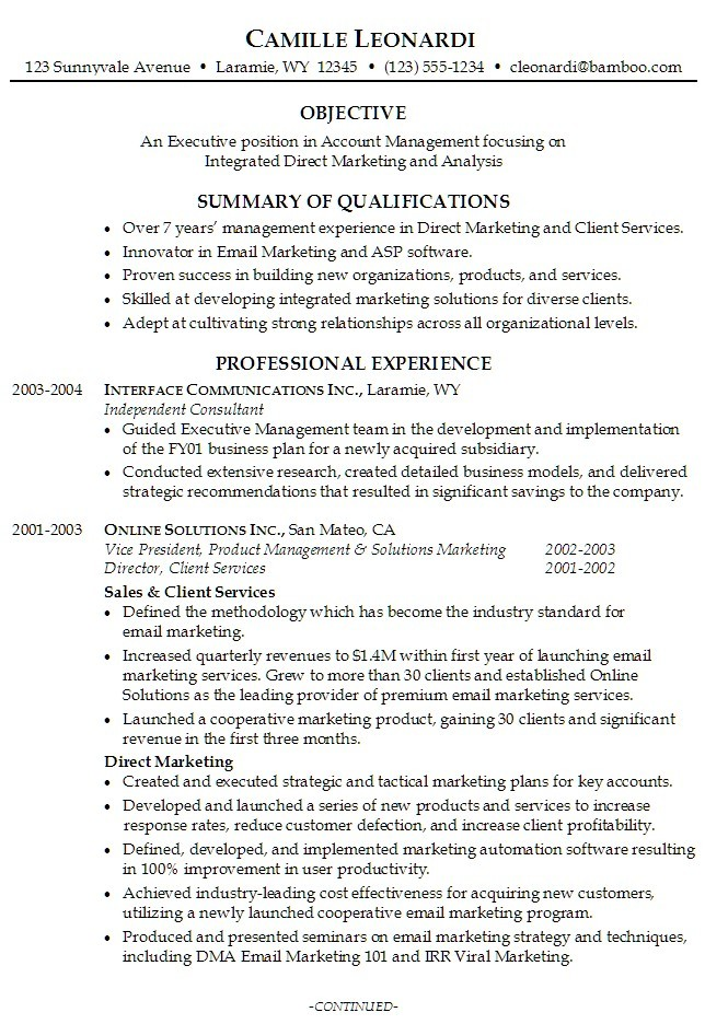 resume summary examples for business students
