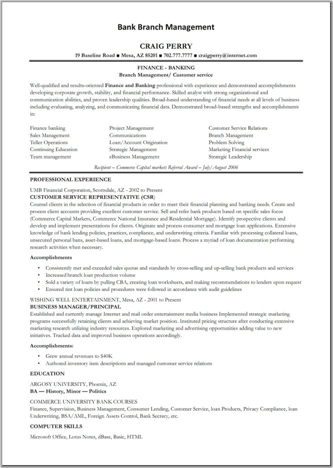 Resume For Bank Teller - Resume Sample