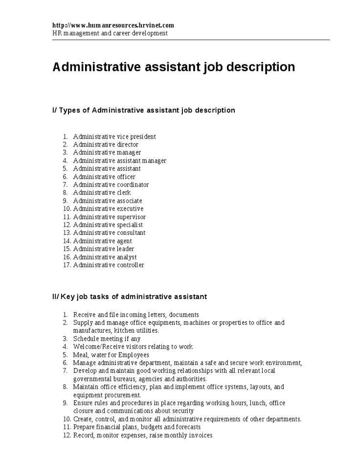 Administrative Assistant Job Duties For Resume