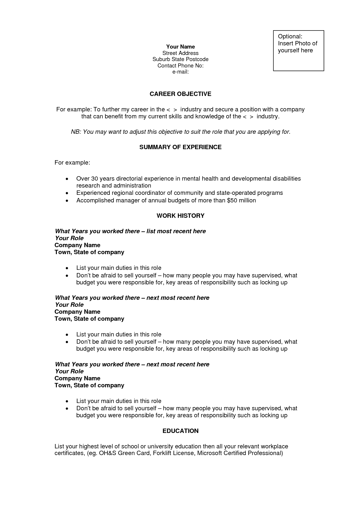 professional resume career objective examples