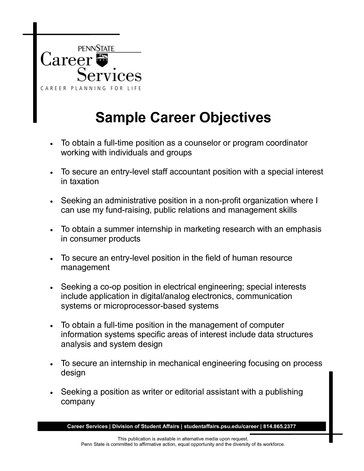 Best Objective Statements For Resumes How To Write Career Objective With Sample